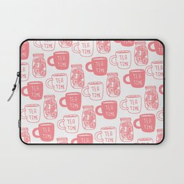 Abstract coral white tea cups modern typography Laptop Sleeve