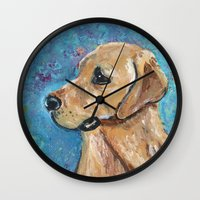 lab Wall Clocks featuring Yellow Lab by gretzky