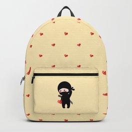 Tiny Ninja Holding Origami Heart Backpack