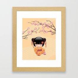 Japanese Ume Kokeshi Doll Framed Art Print