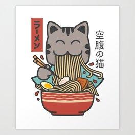 Ramen Cat Kawaii Art Print