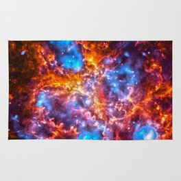 Colorful Cosmos - Red and Blue Rug