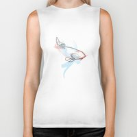 one line Biker Tanks featuring One line Koi Fish by quibe