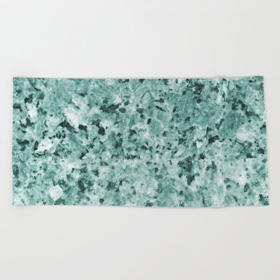 Polished granite verde - turquoise stone Beach Towel
