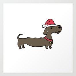 Dacshund Santa Art Print