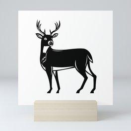 Whitetail Deer Side View Woodcut Mini Art Print