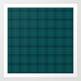 Dark Teal Plaid Art Print