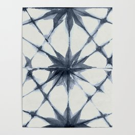 Shibori Starburst Indigo Blue on Lunar Gray Poster