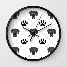 Black Great Dane Paw Print Pattern Wall Clock