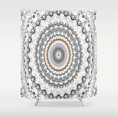 Black, Gold, and White Shower Curtain