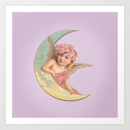 Victorian Moon Angel Art Print