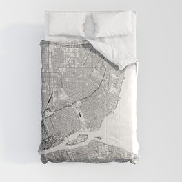 Detroit White Map Comforters