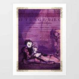 Anthony & Cleopatra -  Shakespeare Folio Illustration - Egyptian Love  Art Print