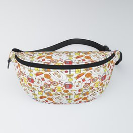 Funky, Fresh Fitness and Sports, Orange, Red, Yellow, White and Retro Vintage Style Music Icons Fanny Pack