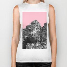 Part of Angkor Wat with pink Biker Tank