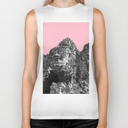 Part of Angkor Wat with pink Biker Tank