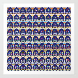 Multicolored fans and stripes pattern Art Print