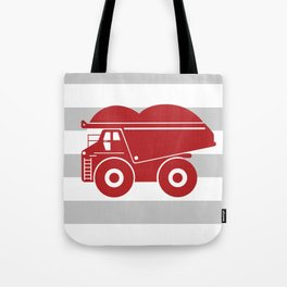 Red Dump Truck on Gray Stripes Tote Bag