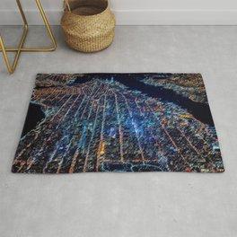 Manhattan Nighttime Skyline Cityscape Landscape Painting by Jeanpaul Ferro Rug