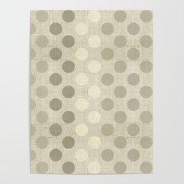"""Nude Burlap Texture and Polka Dots"" Poster"