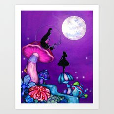 Alice in Wonderland and Caterpillar Art Print