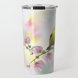 Digital Painting of  American Goldfinch  on the flowers Travel Mug