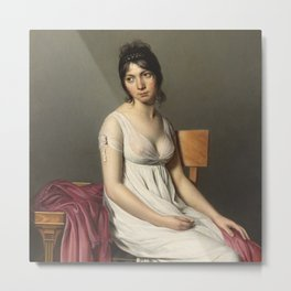 Portrait of a Young Woman in White by Jaques-Louis David Metal Print