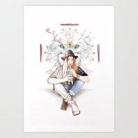 Flute girl Art Print