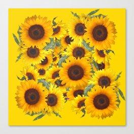 DECORATIVE WESTERN YELLOW SUNFLOWERS FIELDS Canvas Print