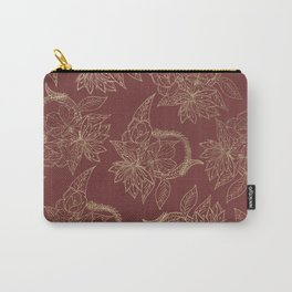 Elegant burgundy chic faux gold floral Carry-All Pouch