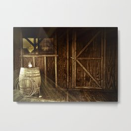 Cowboy Country Western Cabin Sepia Light, Whiskey Barrel Lantern and Rope Metal Print