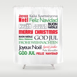 merry christmas in different languages II Shower Curtain
