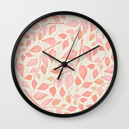 Coral Pink Leaves On Gold Wall Clock