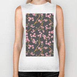 Girly pink mauve gray cherry blossom floral Biker Tank