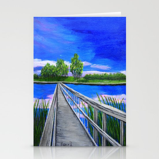 Walking bridge on the lake  Stationery Cards