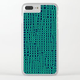 Turquoise Crosshatch Clear iPhone Case