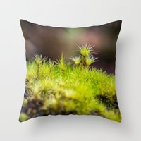 moss Throw Pillows featuring Moss. by Michelle McConnell