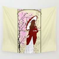 cherry blossoms Wall Tapestries featuring Cherry Blossoms by Nana Leonti