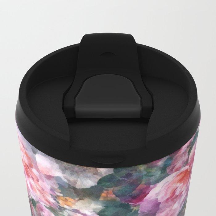 Pink floral pattern Metal Travel Mug