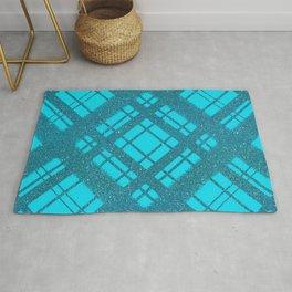 Blue Glitter Plaid on Blue Graphic Design Pattern Rug