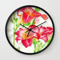 hot pink Wall Clocks featuring Hot Pink by Kate Havekost Fine Art