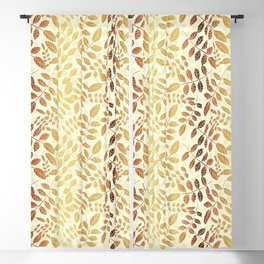 Golden trendy abstract leaves with off white background and yellow circles Blackout Curtain