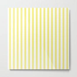Lemon Yellow Stripes Pattern Metal Print
