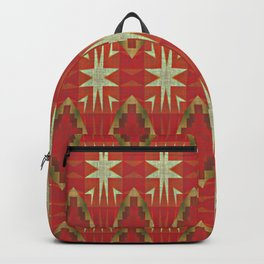 Red Ochre Olive Green Native American Indian Mosaic Pattern Backpack
