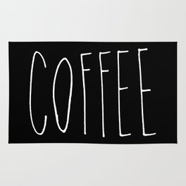 Coffee - Black and white hand lettering Rug