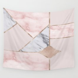 Geometric mix up - rose gold Wall Tapestry