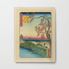 Utagawa Yoshitaki - 100 Views of Naniwa: Small house on the Shirinashi River (1880s) Metal Print