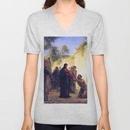 Carl Heinrich Bloch Jesus Christ Healing the Blind Man 1876 Unisex V-Neck