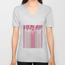 Red butterflies and pink striped leaves on a white background . Unisex V-Neck