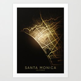 Santa Monica California usa city night light map Art Print